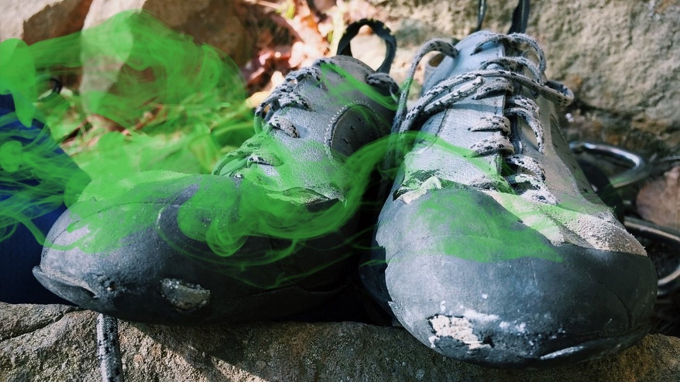 stinky climbing shoes